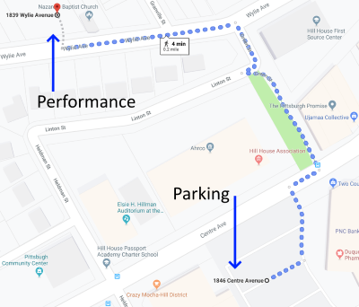 Map showing route from parking to venue
